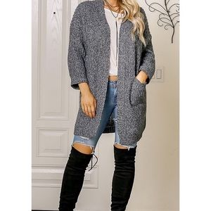 Sweaters - Gray Thick Knit Cardigan Sweater w/ Front Pockets